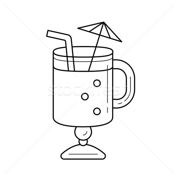 Mulled wine with drinking straw vector line icon. Stock photo © RAStudio