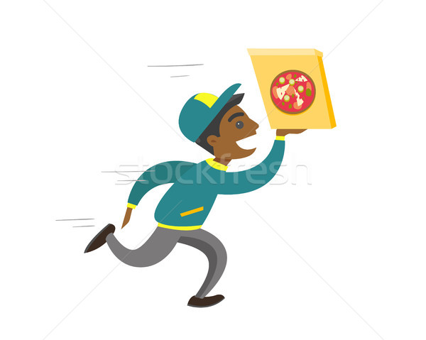 Young african-american man running with pizza. Stock photo © RAStudio