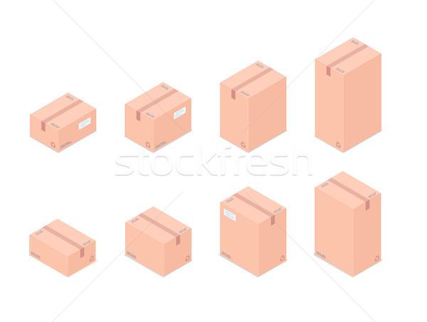 Set of isometric boxes isolated on white background Stock photo © RAStudio