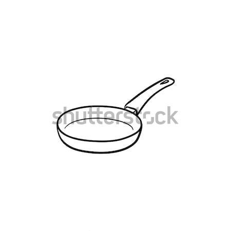 Frying pan hand drawn sketch icon. Stock photo © RAStudio