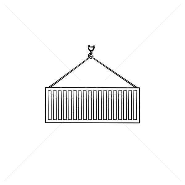 Vracht container schets doodle icon Stockfoto © RAStudio