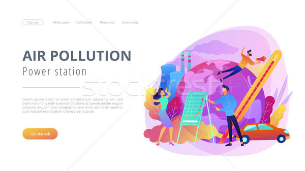 Power station and air pollution landing page. Stock photo © RAStudio