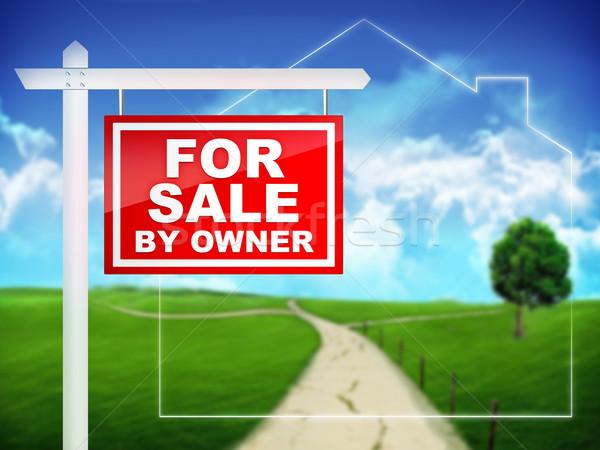 Vente propriétaire immobilier signe maison maison Photo stock © RAStudio
