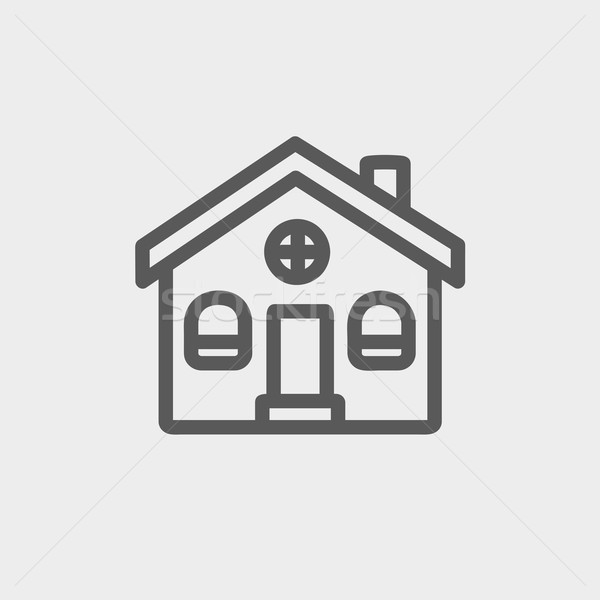 Church building thin line icon Stock photo © RAStudio