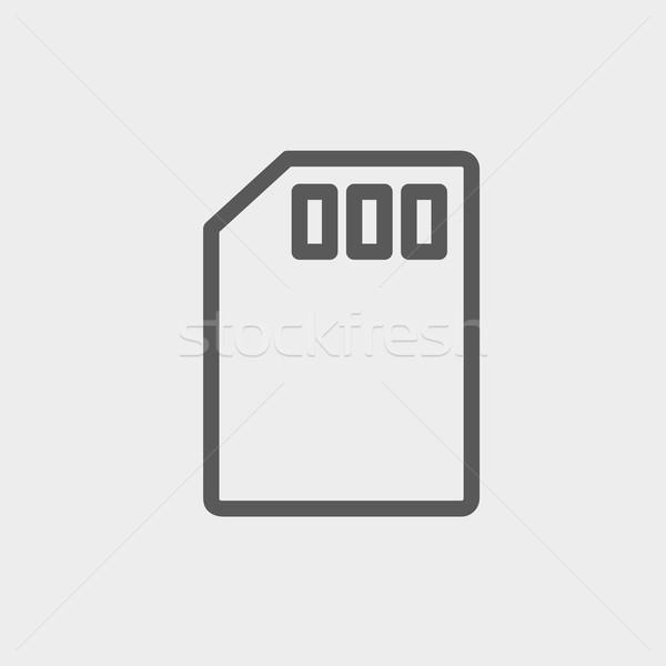 Memoria tarjeta delgado línea icono web Foto stock © RAStudio