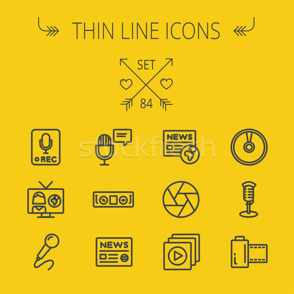 Mutimedia thin line icon set Stock photo © RAStudio