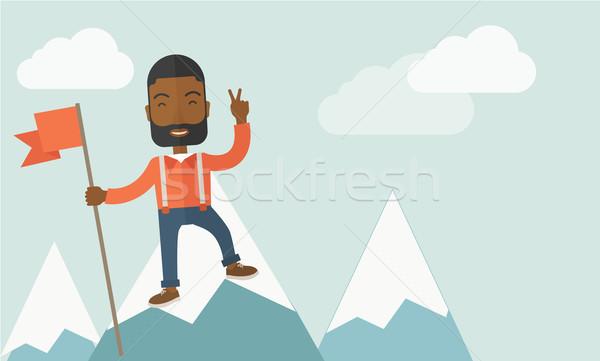 Happy black businessman standing. Stock photo © RAStudio