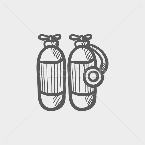 Oxigênio tanque esboço ícone teia móvel Foto stock © RAStudio