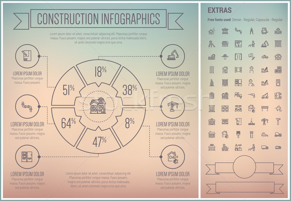 Construction Line Design Infographic Template Stock photo © RAStudio