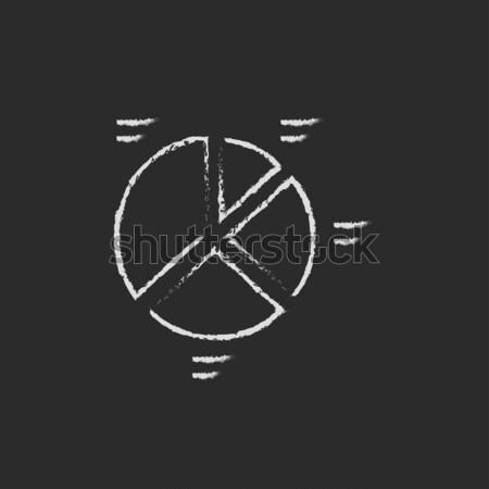 円グラフ アイコン チョーク 手描き 黒板 ストックフォト © RAStudio