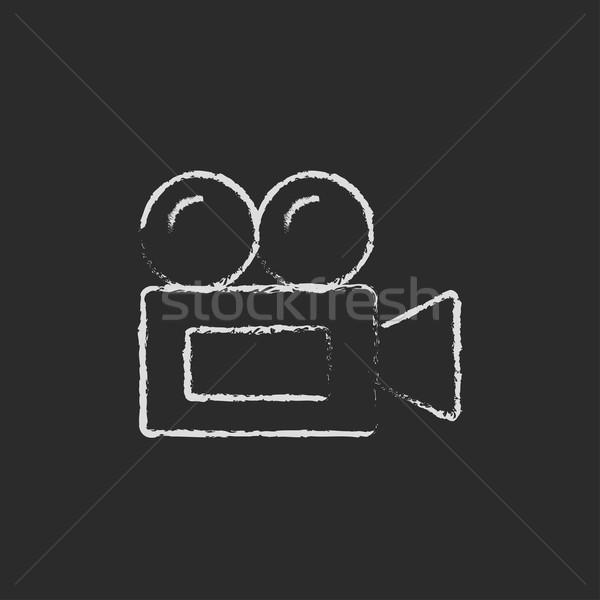 Videókamera ikon rajzolt kréta kézzel rajzolt iskolatábla Stock fotó © RAStudio