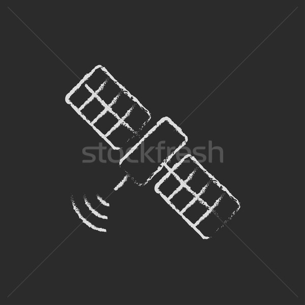 Satelliet icon krijt Blackboard Stockfoto © RAStudio
