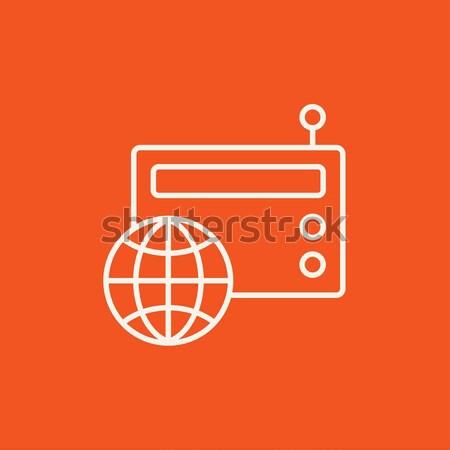 Retro radio icon drawn in chalk. Stock photo © RAStudio