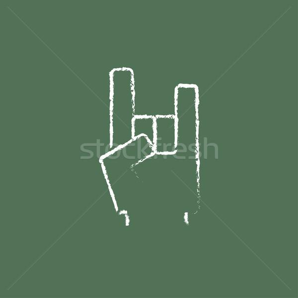 рок катиться рукой знак икона мелом Сток-фото © RAStudio