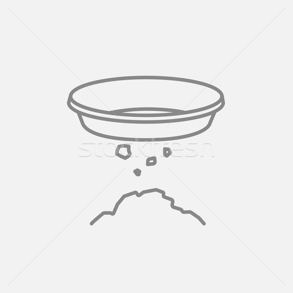 Bowl for sifting gold line icon. Stock photo © RAStudio