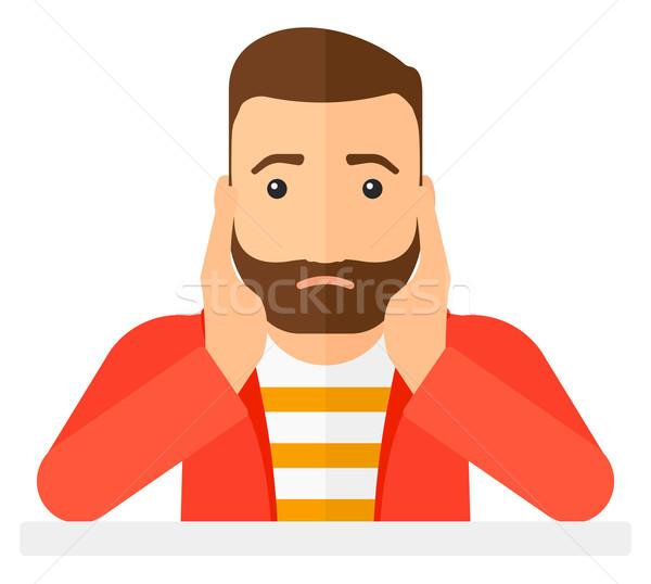 Homme désespoir tête barbe vecteur Photo stock © RAStudio