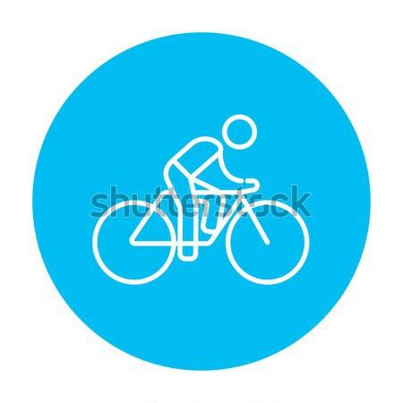 Foto stock: Homem · equitação · bicicleta · linha · ícone · teia