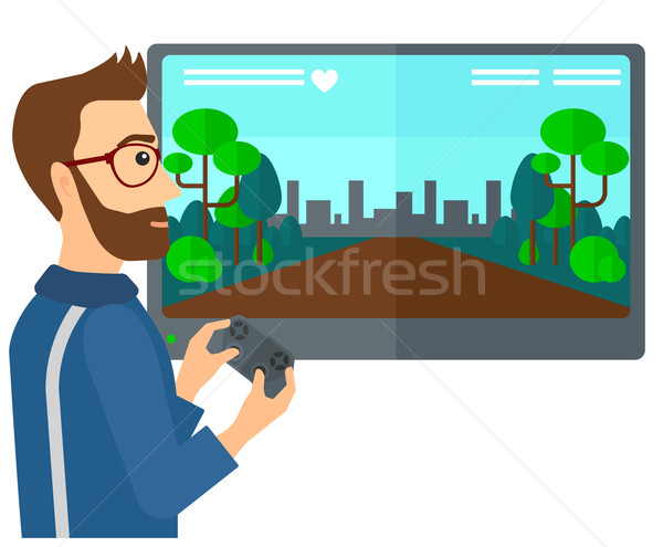 Man playing video game. Stock photo © RAStudio