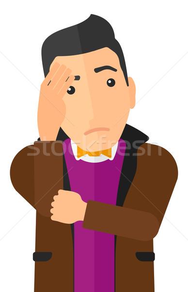 Szégyenkezve fiatalember férfi arc kéz vektor Stock fotó © RAStudio