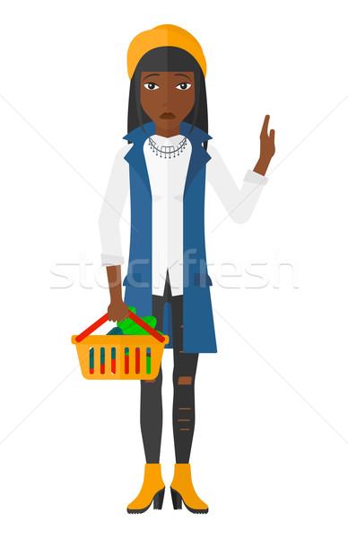 Mulher supermercado cesta completo alimentação saudável Foto stock © RAStudio