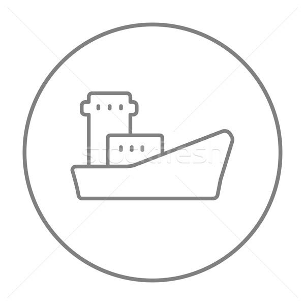 ładunku kontenerowiec line ikona internetowych komórkowych Zdjęcia stock © RAStudio