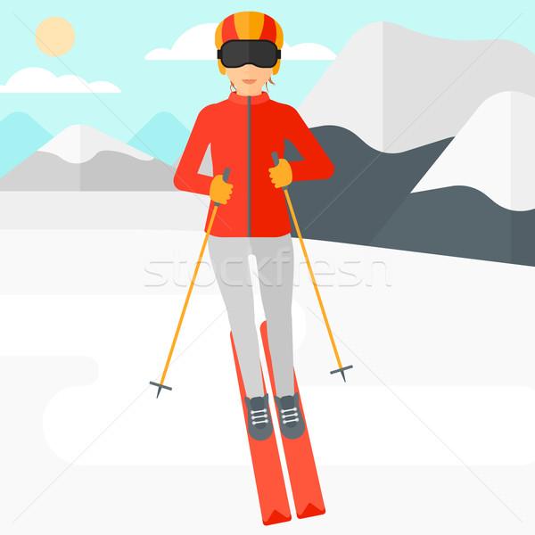 Foto stock: Mulher · jovem · esqui · neve · montanha · vetor · projeto