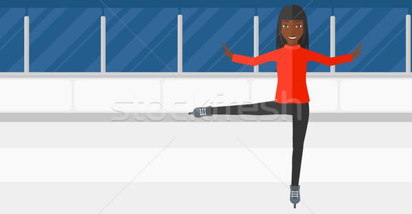Női alkat görkorcsolyázó előad korcsolyázás pálya Stock fotó © RAStudio