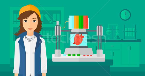 Kadın üç yazıcı 3D kalp Stok fotoğraf © RAStudio