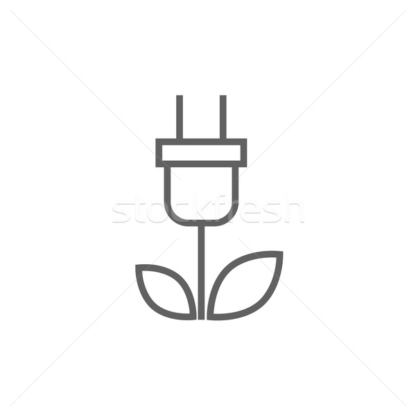 Eco groene energie lijn icon plug bladeren Stockfoto © RAStudio
