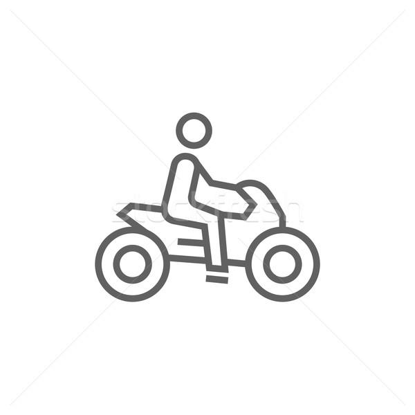 Homem equitação motocicleta linha ícone teia Foto stock © RAStudio