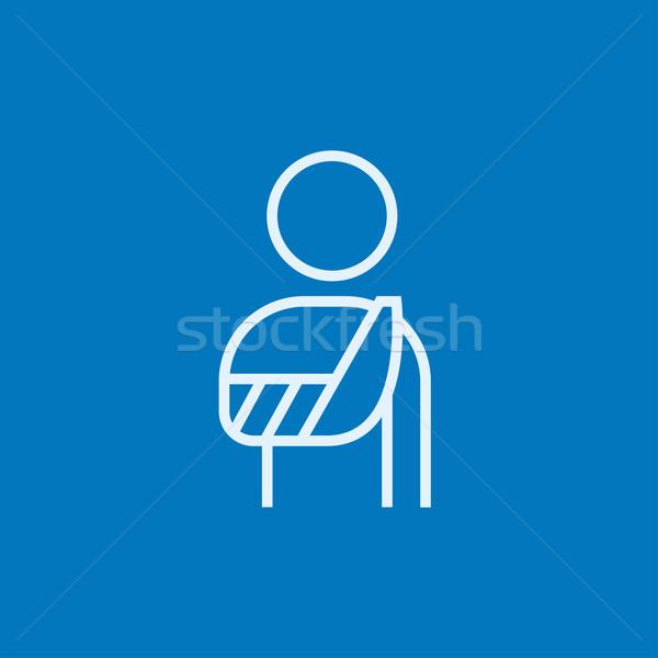 Gewond man lijn icon permanente gebroken Stockfoto © RAStudio