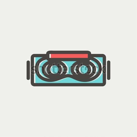 виртуальный реальность гарнитура линия икона уголки Сток-фото © RAStudio