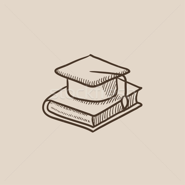 Graduation cap laying on book sketch icon. Stock photo © RAStudio
