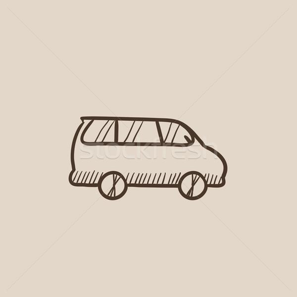 Mikrobusz rajz ikon háló mobil infografika Stock fotó © RAStudio