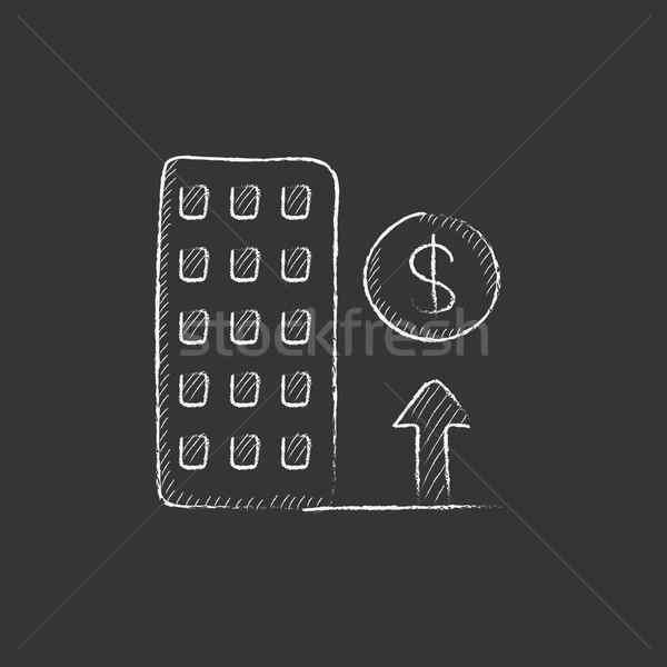 Growth of real estate market. Drawn in chalk icon. Stock photo © RAStudio
