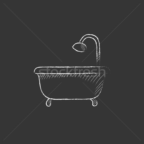 Vasca da bagno doccia gesso icona Foto d'archivio © RAStudio