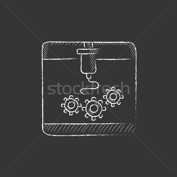 Tree D printing. Drawn in chalk icon. Stock photo © RAStudio