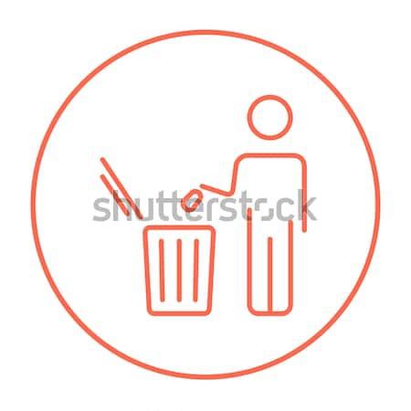 Photo stock: Homme · ordures · ligne · icône