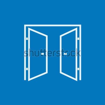 Nyitva ajtók vonal ikon sarkok háló Stock fotó © RAStudio