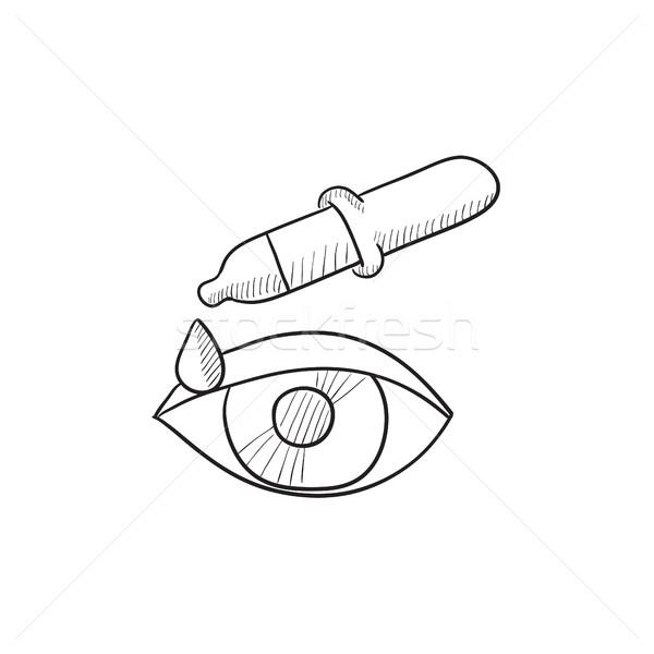 Pipette and eye sketch icon. Stock photo © RAStudio