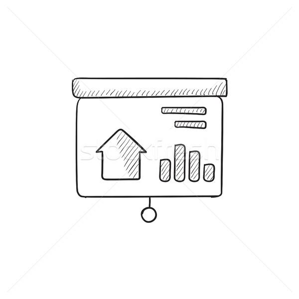 Presentatie projector scherm schets icon onroerend Stockfoto © RAStudio