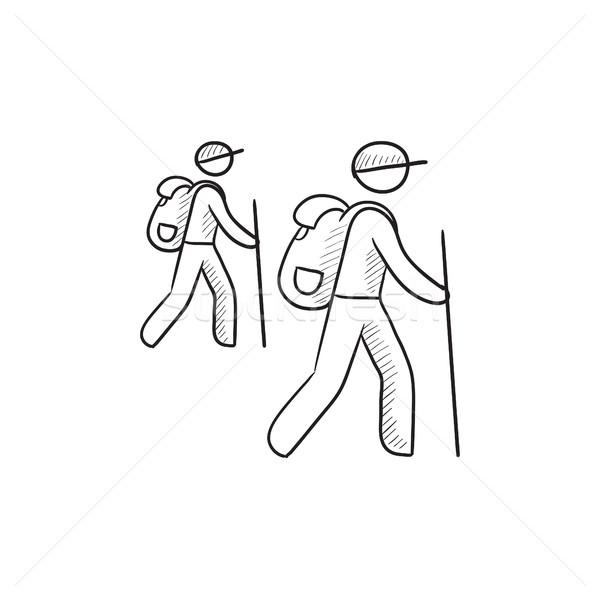 туристических туристов эскиз икона вектора изолированный Сток-фото © RAStudio