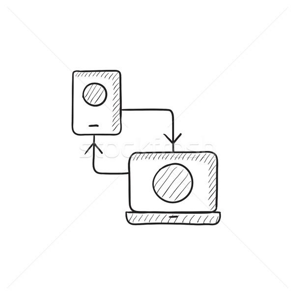 Synchronization phone with laptop sketch icon. Stock photo © RAStudio