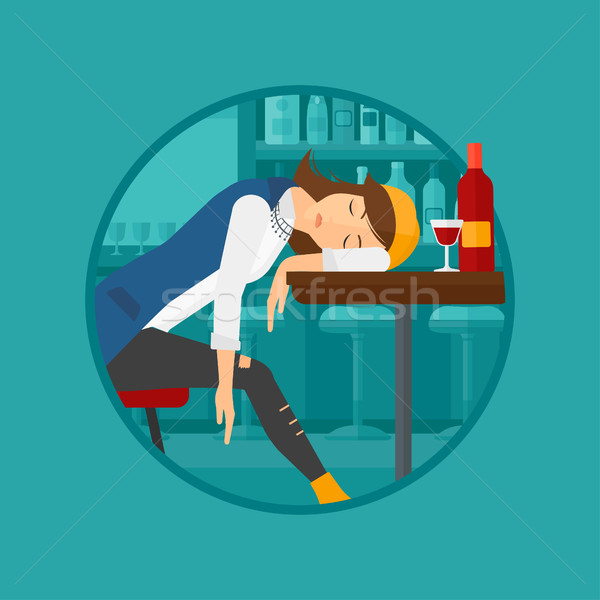 Drunk woman sleeping in bar. Stock photo © RAStudio