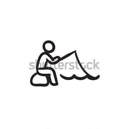 Halász ül rúd rajz ikon vektor Stock fotó © RAStudio