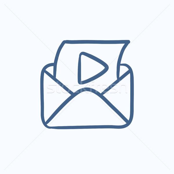 Dotación mail jugar botón boceto icono Foto stock © RAStudio