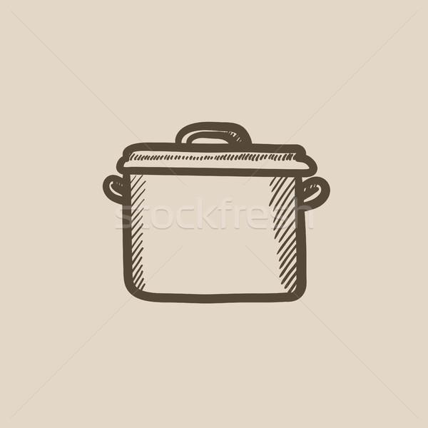 Rondel szkic ikona wektora odizolowany Zdjęcia stock © RAStudio