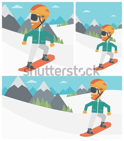 Moço snowboarding neve montanha montanhas Foto stock © RAStudio