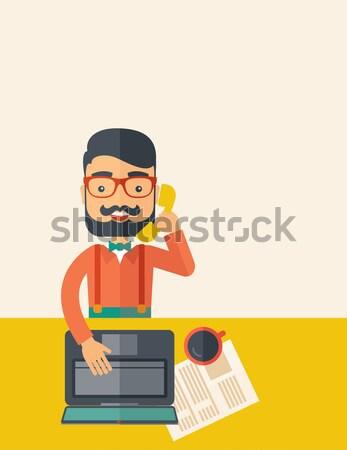 Telemarketing Hipster online Kundendienst Betreiber Stock foto © RAStudio