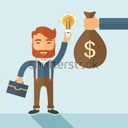 Csere pénz ötlet hipszter kaukázusi üzletember Stock fotó © RAStudio